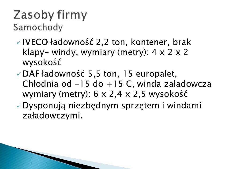 IVECO ładowność 2,2 ton, kontener, brak klapy- windy, wymiary (metry): 4 x 2 x 2 wysokość DAF ładowność 5,5 ton, 15 europalet, Chłodnia od -15 do +15 C, winda załadowcza wymiary (metry): 6 x 2,4 x 2,5 wysokość Dysponują niezbędnym sprzętem i windami załadowczymi.
