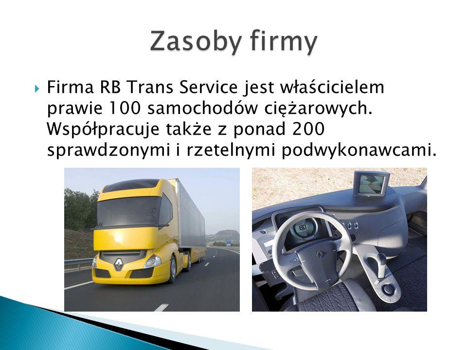  Firma RB Trans Service jest właścicielem prawie 100 samochodów ciężarowych.
