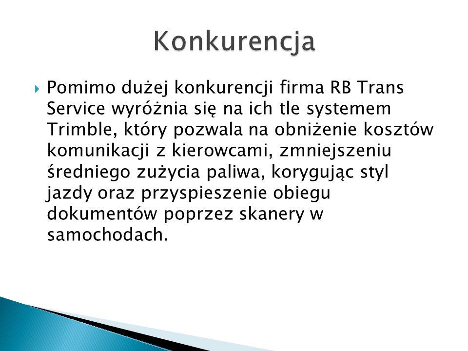  Pomimo dużej konkurencji firma RB Trans Service wyróżnia się na ich tle systemem Trimble, który pozwala na obniżenie kosztów komunikacji z kierowcami, zmniejszeniu średniego zużycia paliwa, korygując styl jazdy oraz przyspieszenie obiegu dokumentów poprzez skanery w samochodach.