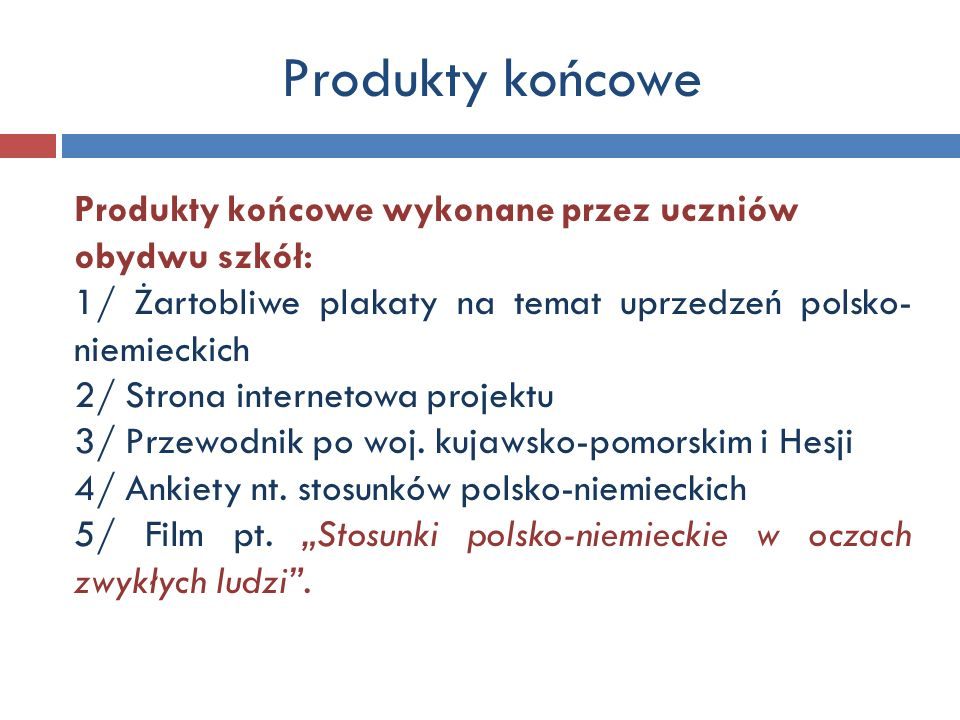 Produkty końcowe Produkty końcowe wykonane przez uczniów obydwu szkół: 1/ Żartobliwe plakaty na temat uprzedzeń polsko- niemieckich 2/ Strona internet