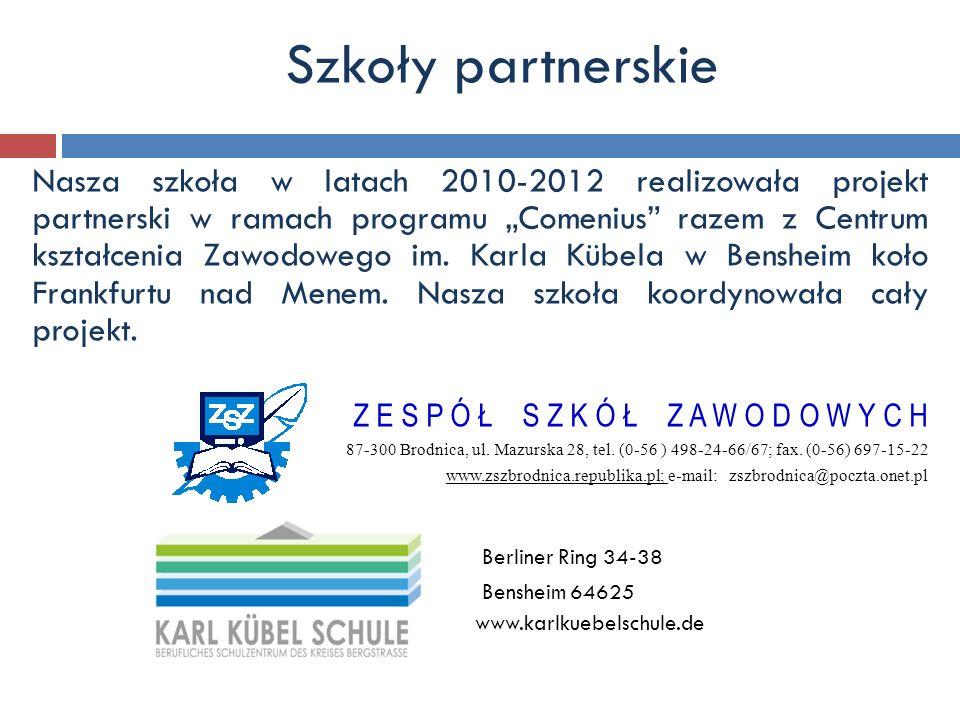 """Nasza szkoła w latach 2010-2012 realizowała projekt partnerski w ramach programu """"Comenius"""" razem z Centrum kształcenia Zawodowego im. Karla Kübela w"""