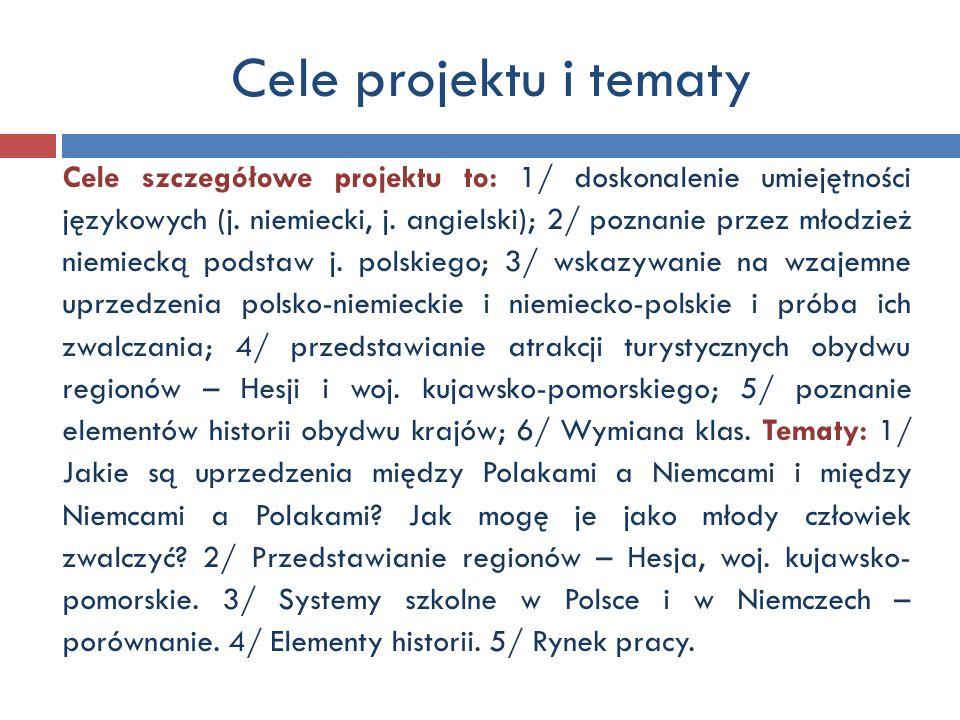 Cele projektu i tematy Cele szczegółowe projektu to: 1/ doskonalenie umiejętności językowych (j. niemiecki, j. angielski); 2/ poznanie przez młodzież