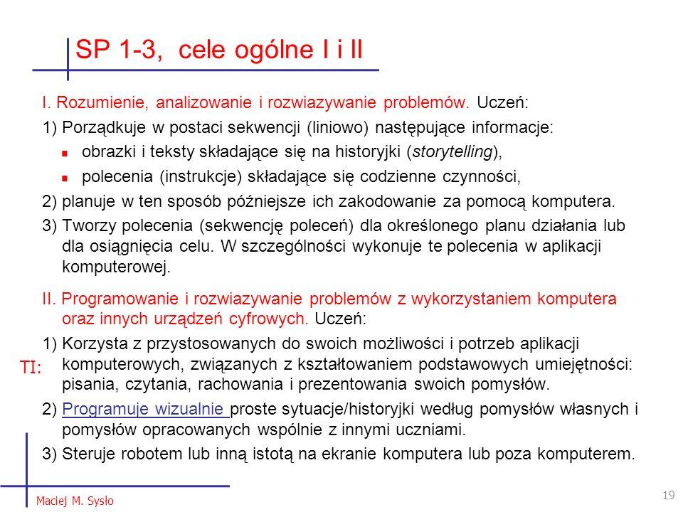 SP 1-3, cele ogólne I i II I. Rozumienie, analizowanie i rozwiazywanie problemów. Uczeń: 1) Porządkuje w postaci sekwencji (liniowo) następujące infor