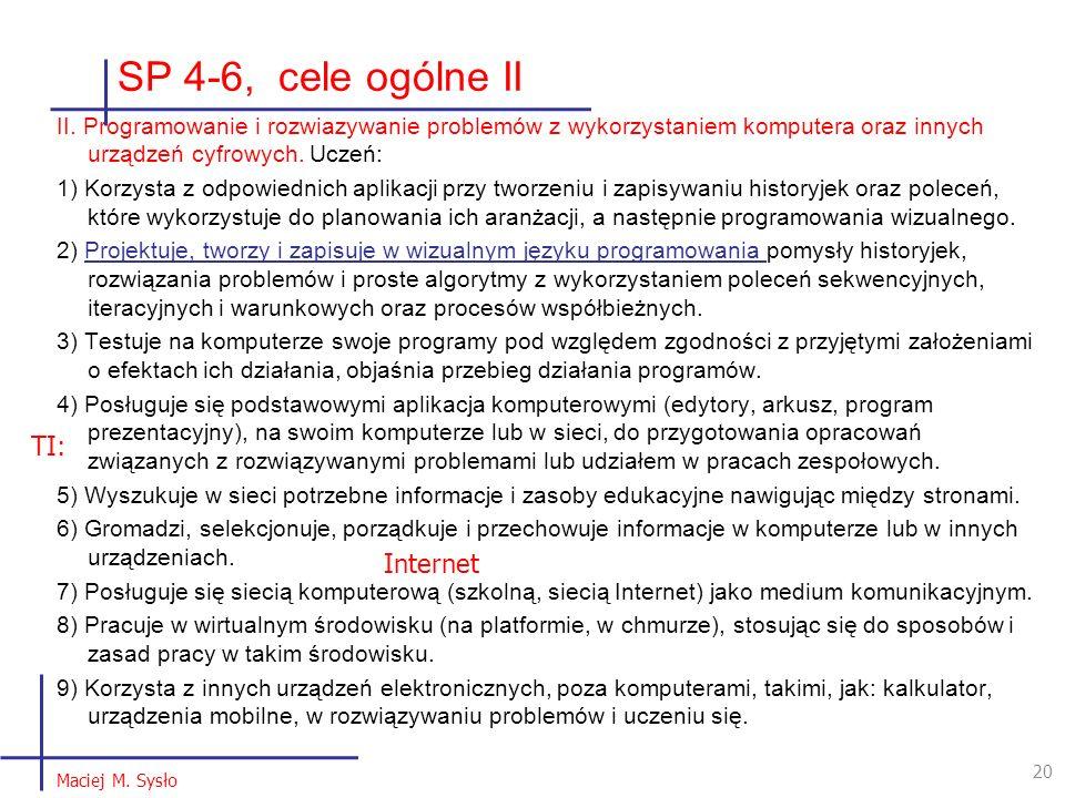 SP 4-6, cele ogólne II II. Programowanie i rozwiazywanie problemów z wykorzystaniem komputera oraz innych urządzeń cyfrowych. Uczeń: 1) Korzysta z odp