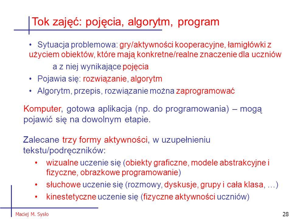 Tok zajęć: pojęcia, algorytm, program Sytuacja problemowa: gry/aktywności kooperacyjne, łamigłówki z użyciem obiektów, które mają konkretne/realne zna
