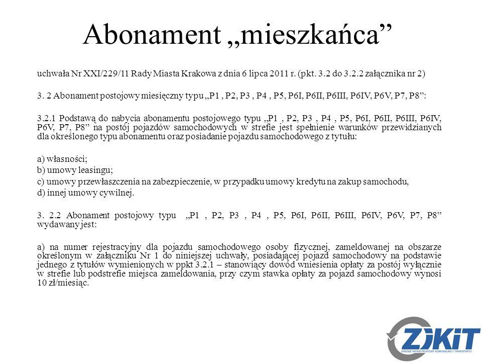 """Abonament """"mieszkańca uchwała Nr XXI/229/11 Rady Miasta Krakowa z dnia 6 lipca 2011 r."""