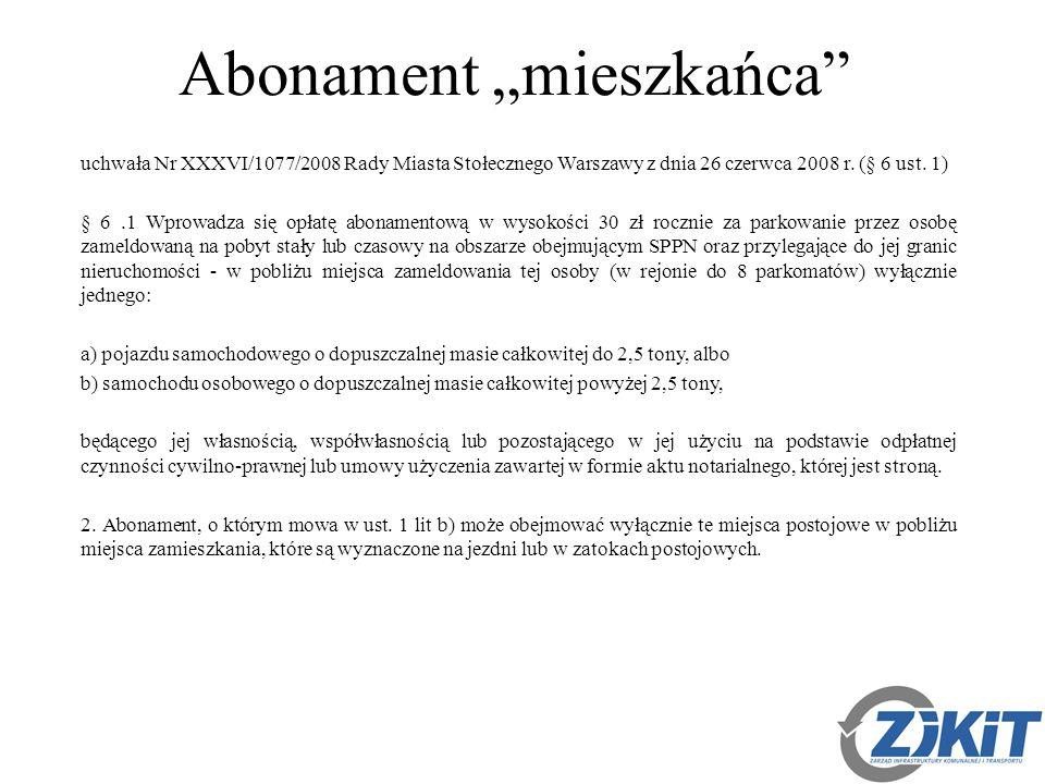 """Abonament """"mieszkańca uchwała Nr XXXVI/1077/2008 Rady Miasta Stołecznego Warszawy z dnia 26 czerwca 2008 r."""
