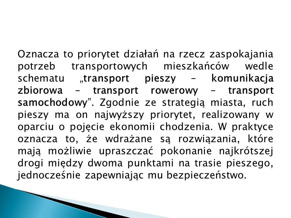 """Oznacza to priorytet działań na rzecz zaspokajania potrzeb transportowych mieszkańców wedle schematu """"transport pieszy – komunikacja zbiorowa – transport rowerowy – transport samochodowy ."""