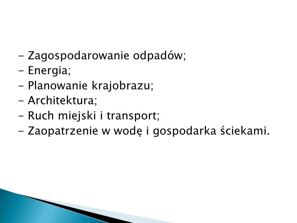 - Zagospodarowanie odpadów; - Energia; - Planowanie krajobrazu; - Architektura; - Ruch miejski i transport; - Zaopatrzenie w wodę i gospodarka ściekami.