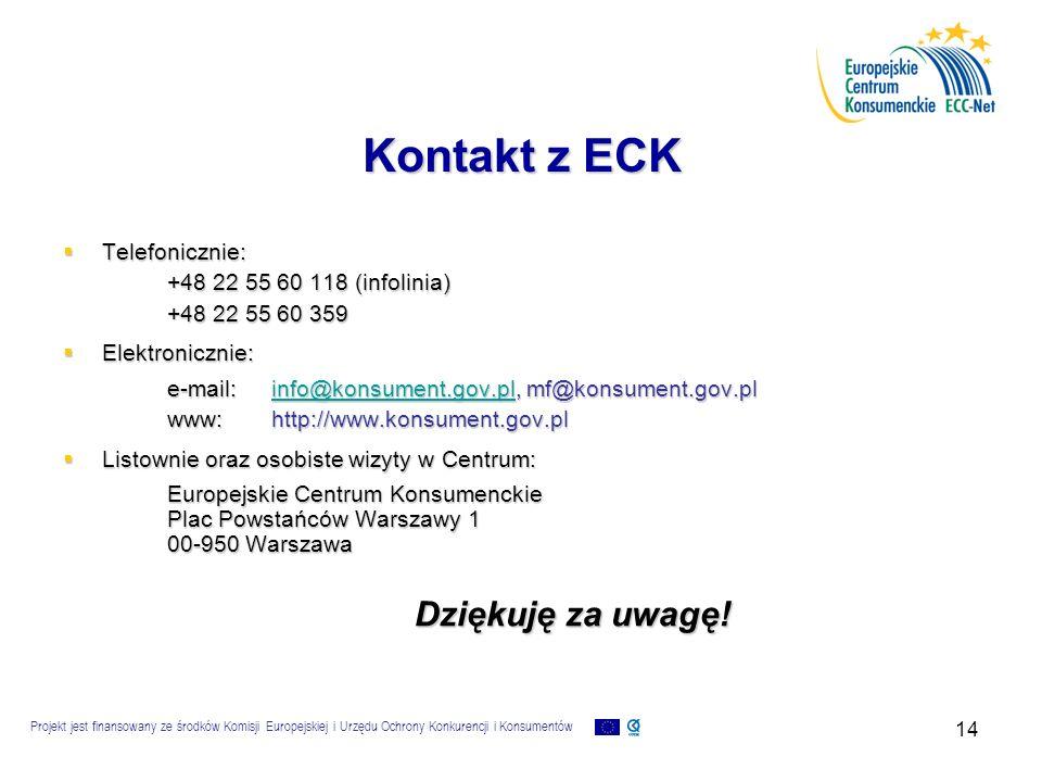 Projekt jest finansowany ze środków Komisji Europejskiej i Urzędu Ochrony Konkurencji i Konsumentów 14 Kontakt z ECK  Telefonicznie: +48 22 55 60 118 (infolinia) +48 22 55 60 359  Elektronicznie: e-mail:info@konsument.gov.pl, mf@konsument.gov.pl info@konsument.gov.pl www:http://www.konsument.gov.pl  Listownie oraz osobiste wizyty w Centrum: Europejskie Centrum Konsumenckie Plac Powstańców Warszawy 1 00-950 Warszawa Dziękuję za uwagę!
