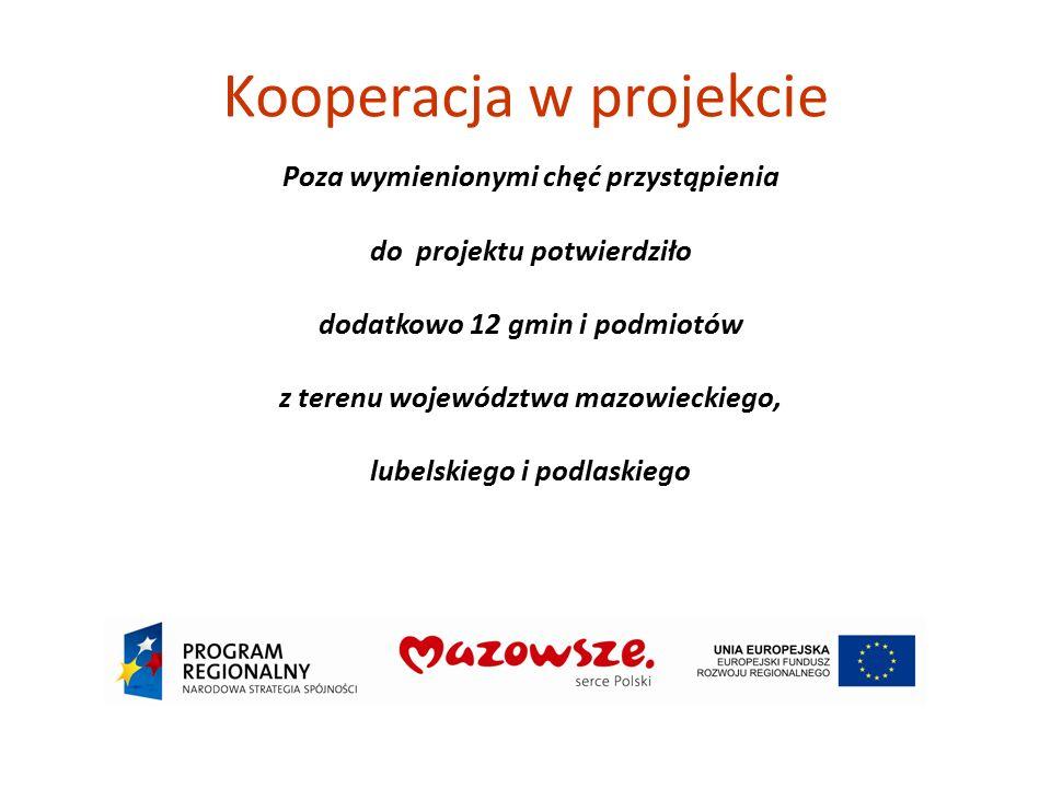 Kooperacja w projekcie Poza wymienionymi chęć przystąpienia do projektu potwierdziło dodatkowo 12 gmin i podmiotów z terenu województwa mazowieckiego,