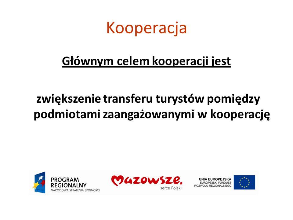 Kooperacja Głównym celem kooperacji jest zwiększenie transferu turystów pomiędzy podmiotami zaangażowanymi w kooperację