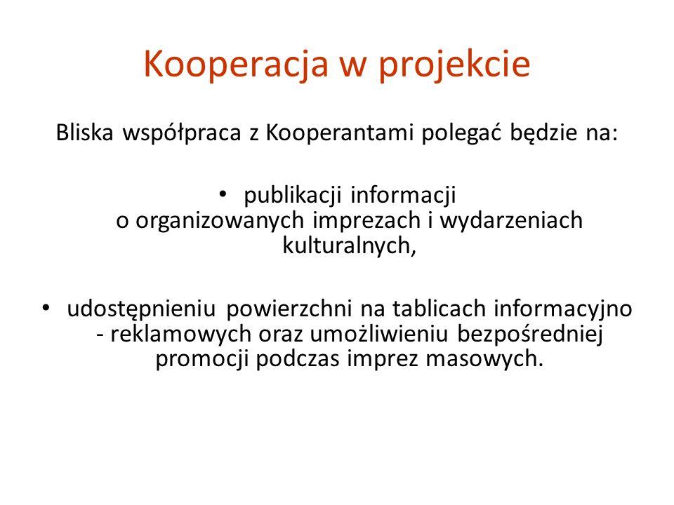 Bliska współpraca z Kooperantami polegać będzie na: publikacji informacji o organizowanych imprezach i wydarzeniach kulturalnych, udostępnieniu powierzchni na tablicach informacyjno - reklamowych oraz umożliwieniu bezpośredniej promocji podczas imprez masowych.