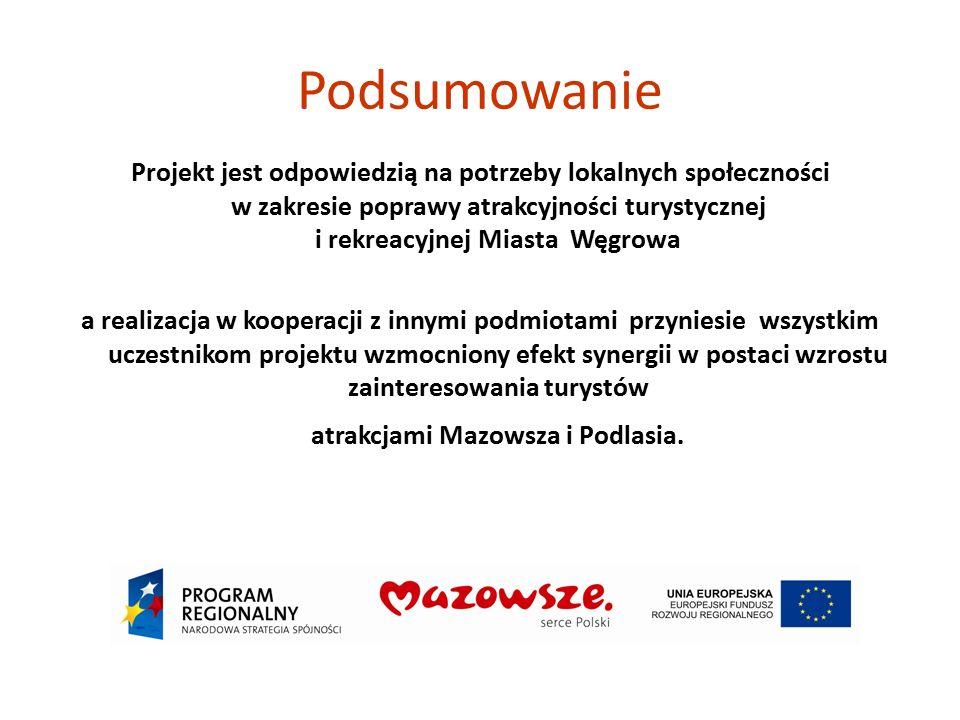 Podsumowanie Projekt jest odpowiedzią na potrzeby lokalnych społeczności w zakresie poprawy atrakcyjności turystycznej i rekreacyjnej Miasta Węgrowa a
