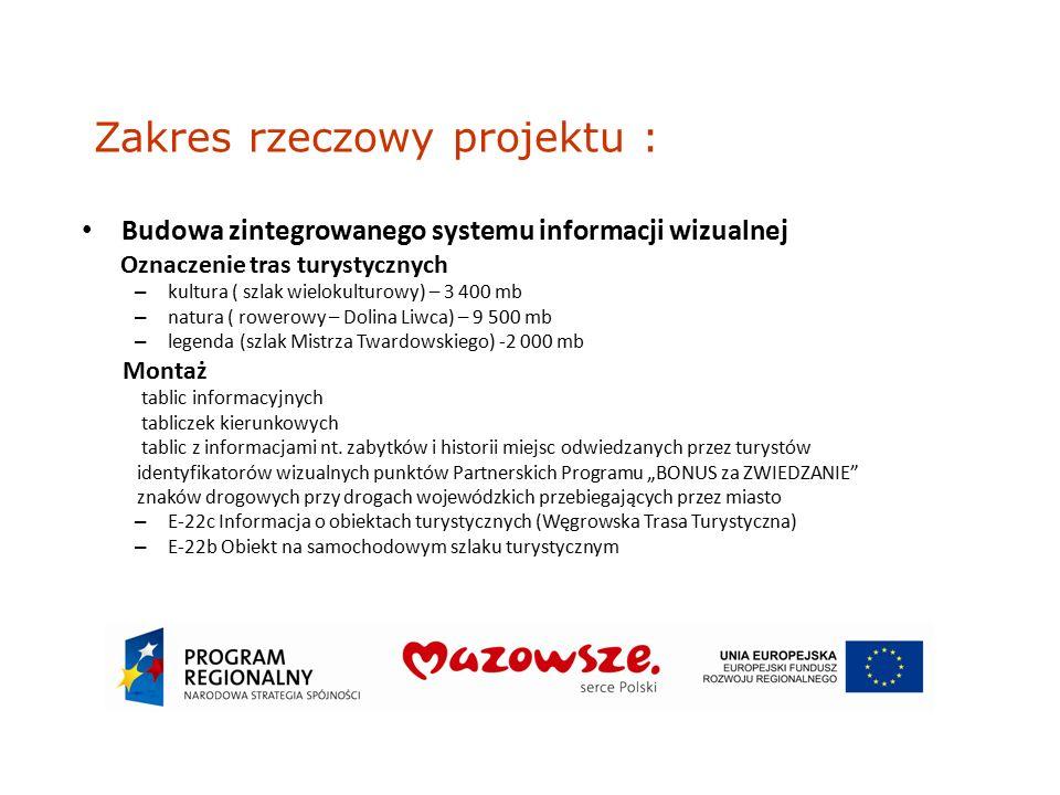 Podsumowanie Projekt jest odpowiedzią na potrzeby lokalnych społeczności w zakresie poprawy atrakcyjności turystycznej i rekreacyjnej Miasta Węgrowa a realizacja w kooperacji z innymi podmiotami przyniesie wszystkim uczestnikom projektu wzmocniony efekt synergii w postaci wzrostu zainteresowania turystów atrakcjami Mazowsza i Podlasia.