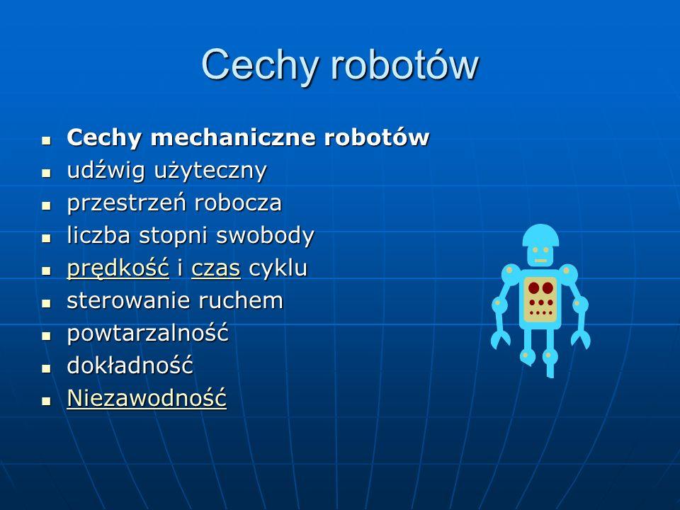 Cechy robotów Cechy mechaniczne robotów Cechy mechaniczne robotów udźwig użyteczny udźwig użyteczny przestrzeń robocza przestrzeń robocza liczba stopni swobody liczba stopni swobody prędkość i czas cyklu prędkość i czas cyklu prędkośćczas prędkośćczas sterowanie ruchem sterowanie ruchem powtarzalność powtarzalność dokładność dokładność Niezawodność Niezawodność Niezawodność