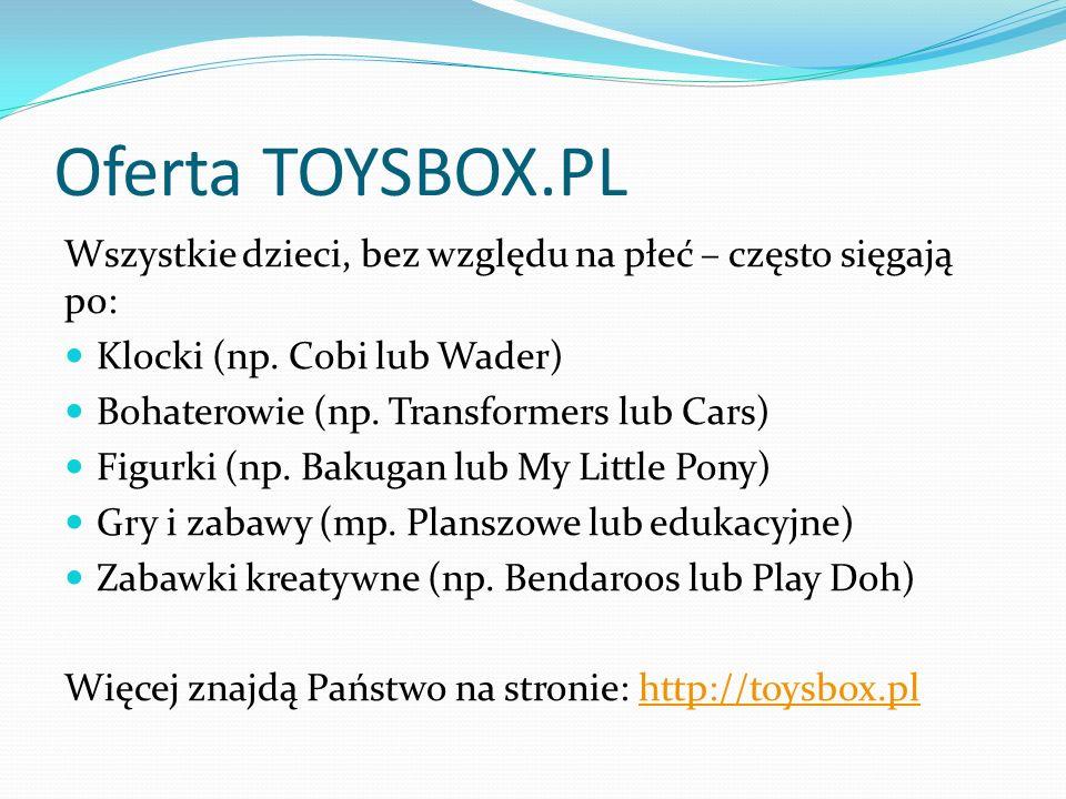 Oferta TOYSBOX.PL Wszystkie dzieci, bez względu na płeć – często sięgają po: Klocki (np.