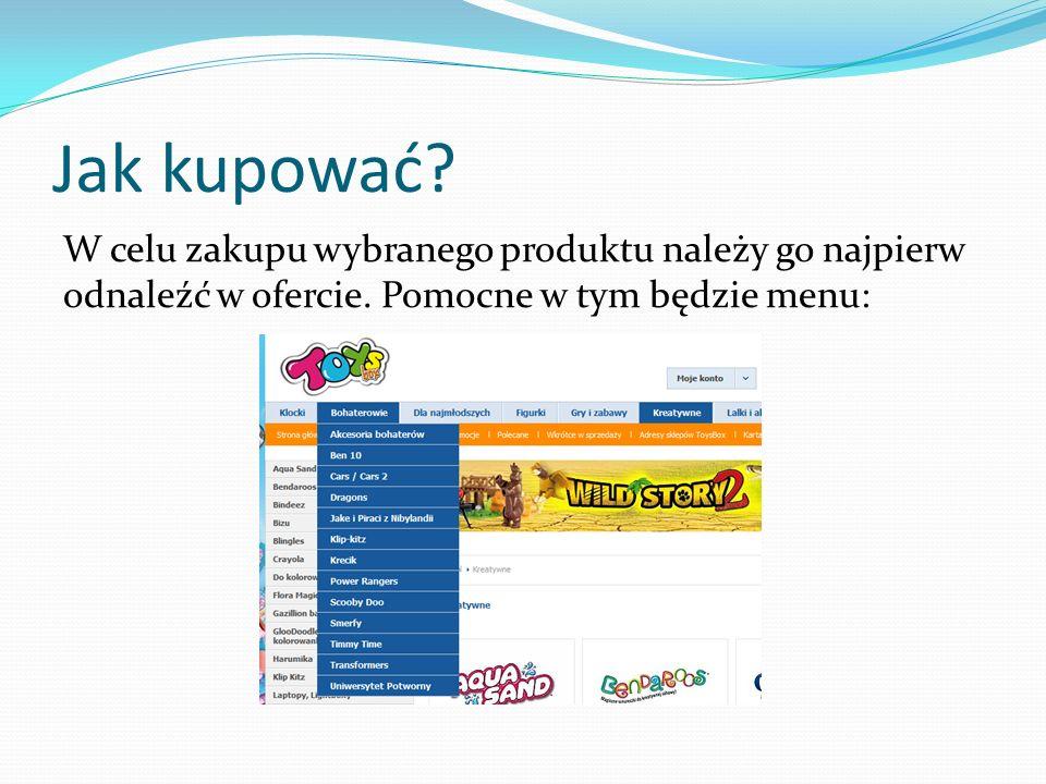 Jak kupować? lub dostępna wyszukiwarka: Następnie należy dodać wybrany produkt do koszyka: