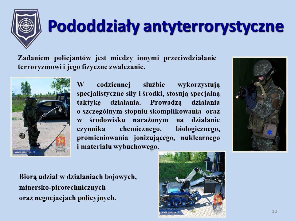 Zadaniem policjantów jest miedzy innymi przeciwdziałanie terroryzmowi i jego fizyczne zwalczanie. 13 Pododdziały antyterrorystyczne Biorą udział w dzi
