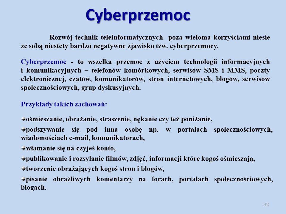 Cyberprzemoc Cyberprzemoc - to wszelka przemoc z użyciem technologii informacyjnych i komunikacyjnych – telefonów komórkowych, serwisów SMS i MMS, poc