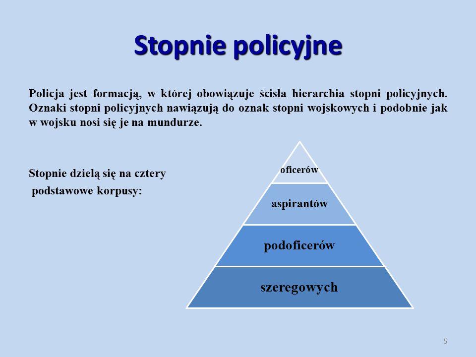 Policja jest formacją, w której obowiązuje ścisła hierarchia stopni policyjnych. Oznaki stopni policyjnych nawiązują do oznak stopni wojskowych i podo