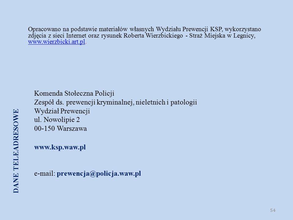 Komenda Stołeczna Policji Zespół ds. prewencji kryminalnej, nieletnich i patologii Wydział Prewencji ul. Nowolipie 2 00-150 Warszawa www.ksp.waw.pl e-
