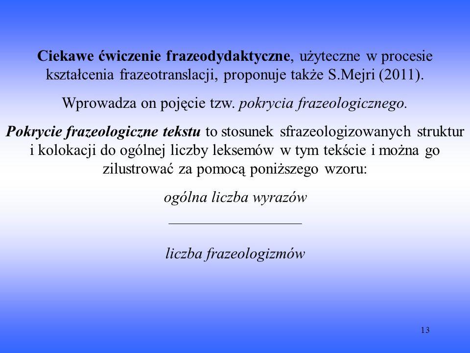 13 Ciekawe ćwiczenie frazeodydaktyczne, użyteczne w procesie kształcenia frazeotranslacji, proponuje także S.Mejri (2011).