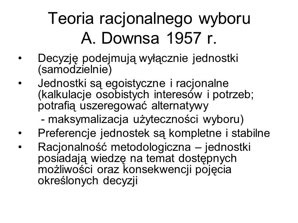 Teoria racjonalnego wyboru A.Downsa 1957 r.