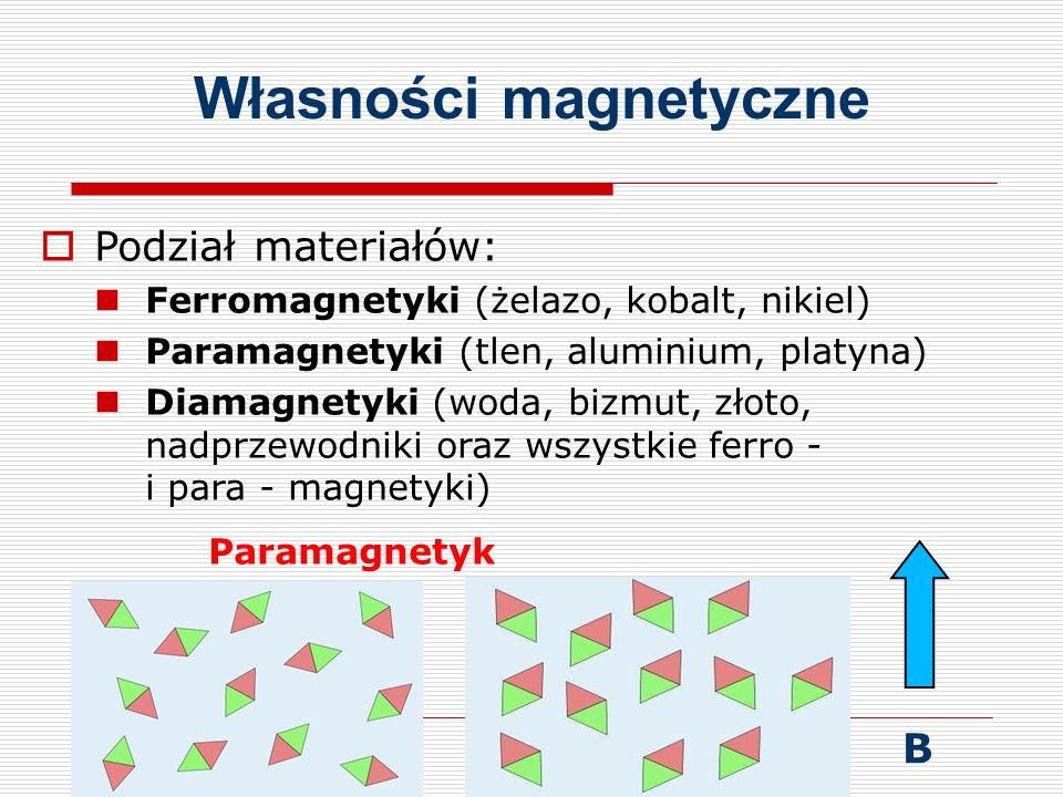 Własności magnetyczne  Podział materiałów: Ferromagnetyki (żelazo, kobalt, nikiel) Paramagnetyki (tlen, aluminium, platyna) Diamagnetyki (woda, bizmut, złoto, nadprzewodniki oraz wszystkie ferro - i para - magnetyki) Paramagnetyk B
