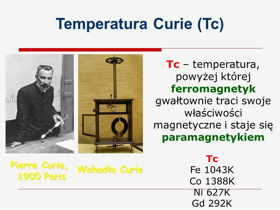 Pierre Curie, 1900 Paris Wahadło Curie Temperatura Curie (Tc) Tc – temperatura, powyżej której ferromagnetyk gwałtownie traci swoje właściwości magnetyczne i staje się paramagnetykiem Tc Fe 1043K Co 1388K Ni 627K Gd 292K