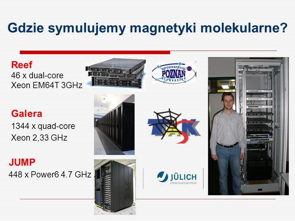 Galera 1344 x quad-core Xeon 2,33 GHz Reef 46 x dual-core Xeon EM64T 3GHz Gdzie symulujemy magnetyki molekularne.