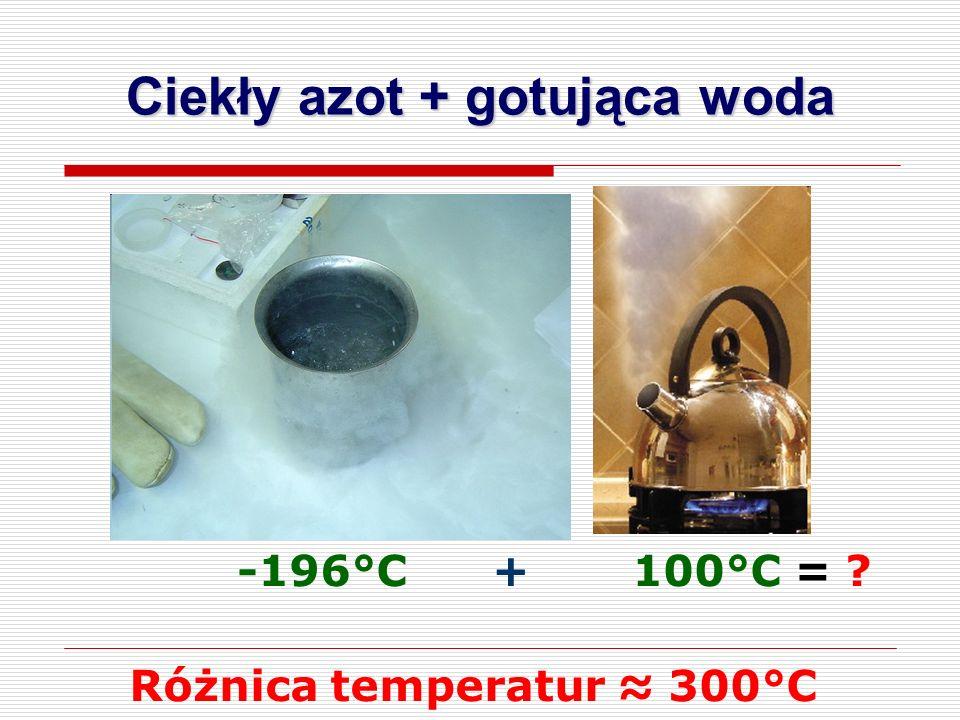 Ciekły azot + gotująca woda -196°C + 100°C = Różnica temperatur ≈ 300°C