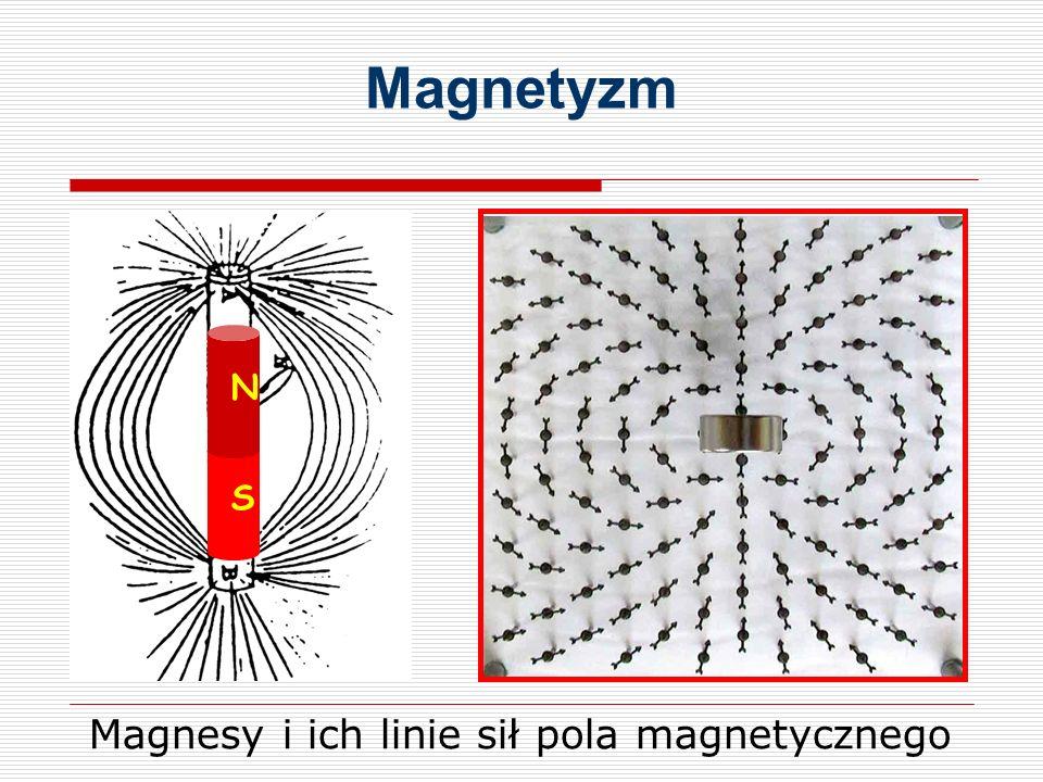 Magnetyzm N S Magnesy i ich linie sił pola magnetycznego