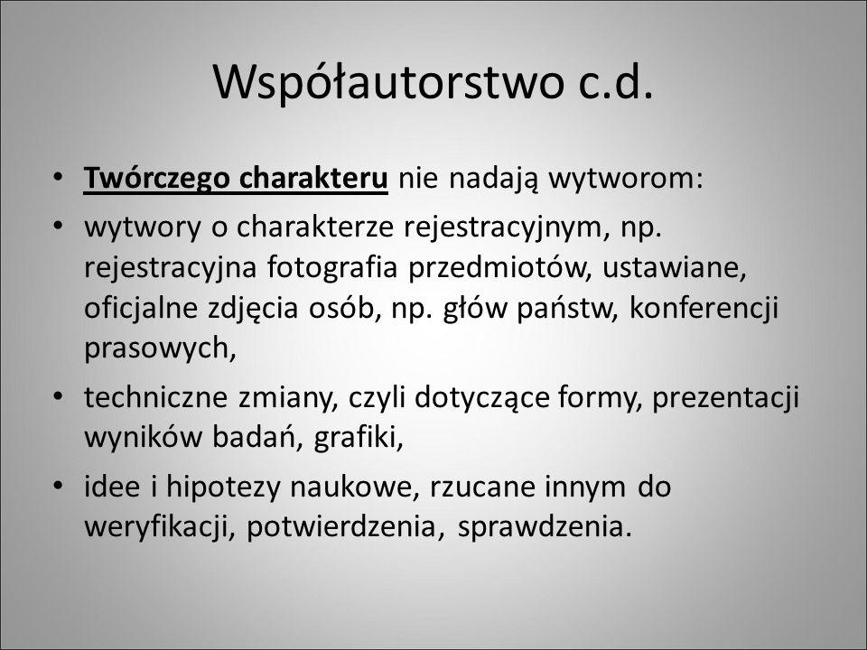 Współautorstwo c.d.