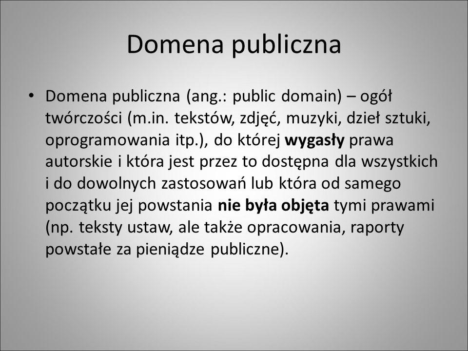 Domena publiczna Domena publiczna (ang.: public domain) – ogół twórczości (m.in.