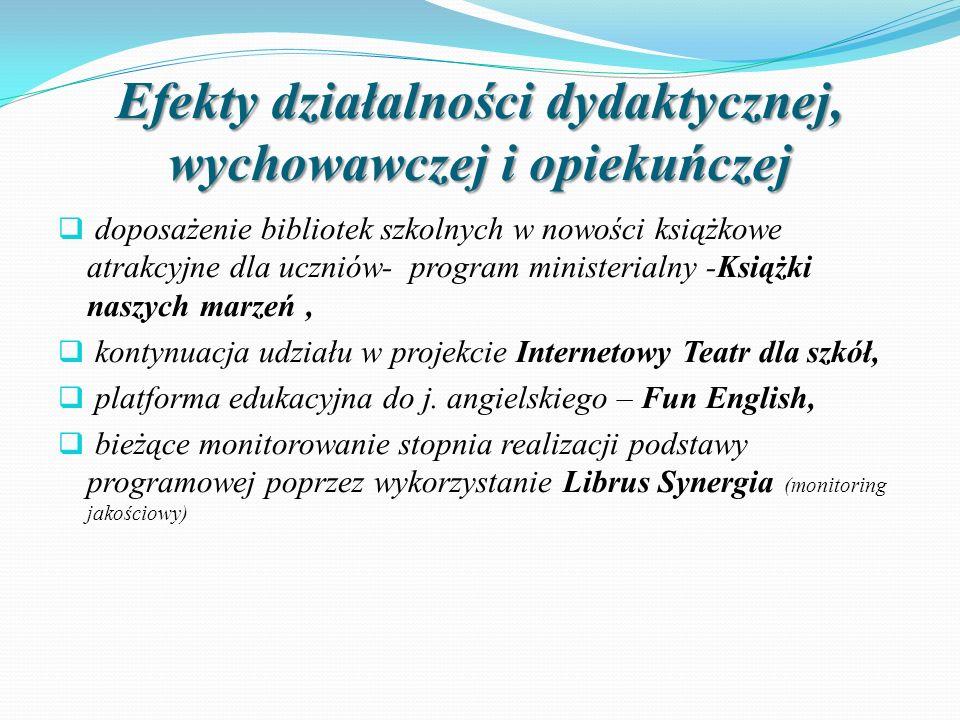 Efekty działalności dydaktycznej, wychowawczej i opiekuńczej  doposażenie bibliotek szkolnych w nowości książkowe atrakcyjne dla uczniów- program min