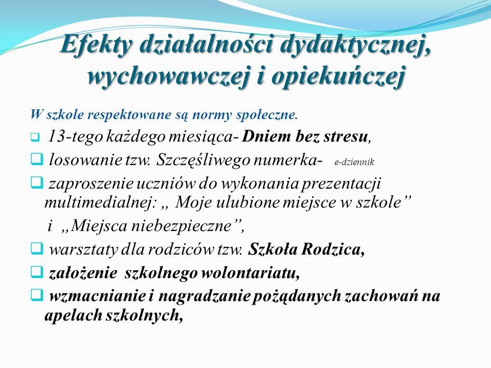 Efekty działalności dydaktycznej, wychowawczej i opiekuńczej W szkole respektowane są normy społeczne.  13-tego każdego miesiąca- Dniem bez stresu, 
