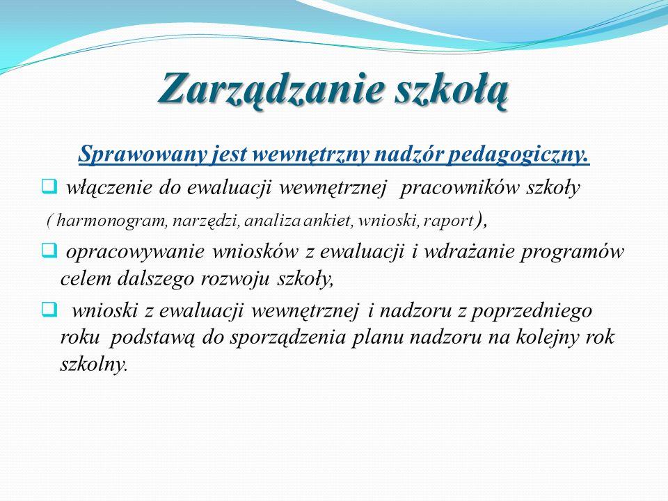 Zarządzanie szkołą Sprawowany jest wewnętrzny nadzór pedagogiczny.  włączenie do ewaluacji wewnętrznej pracowników szkoły ( harmonogram, narzędzi, an