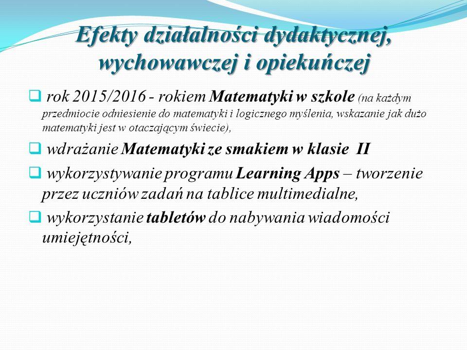 Efekty działalności dydaktycznej, wychowawczej i opiekuńczej  rok 2015/2016 - rokiem Matematyki w szkole (na każdym przedmiocie odniesienie do matema