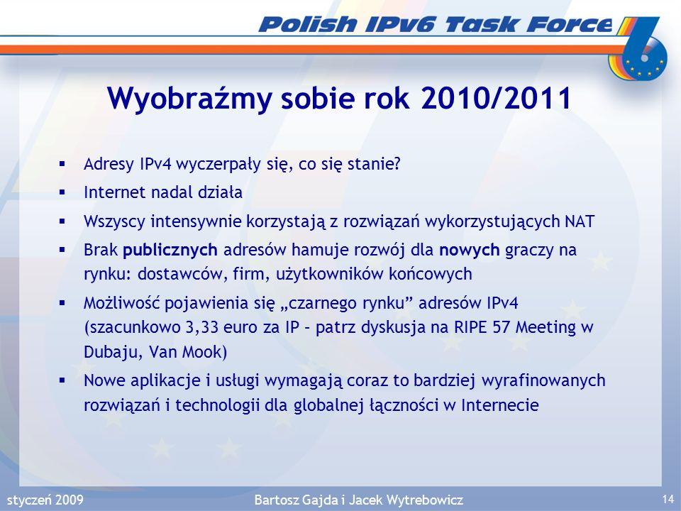 styczeń 2009Bartosz Gajda i Jacek Wytrebowicz 14 Wyobraźmy sobie rok 2010/2011  Adresy IPv4 wyczerpały się, co się stanie.