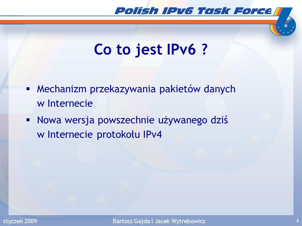 styczeń 2009Bartosz Gajda i Jacek Wytrebowicz 5 Powody wdrażania IPv6  Fakt: adresy IPv4 wyczerpują się – Co się stanie po wyczerpaniu się puli IPv4 .