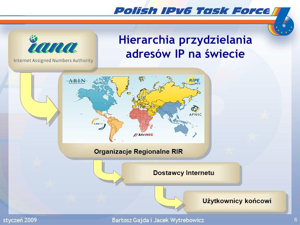 styczeń 2009Bartosz Gajda i Jacek Wytrebowicz 57 IPv6 w świecie Procentowy udział prefiksów IPv6 widocznych w światowym Internecie z podziałem na 20 państw Stan: styczeń 2009 Źródło: http://www.sixxs.net/tools/grh/dfp/ Uwaga: Duża część operatorów rozgłasza adresy do Internetu bez oferowania łączności lub usług IPv6 dla swoich użytkowników