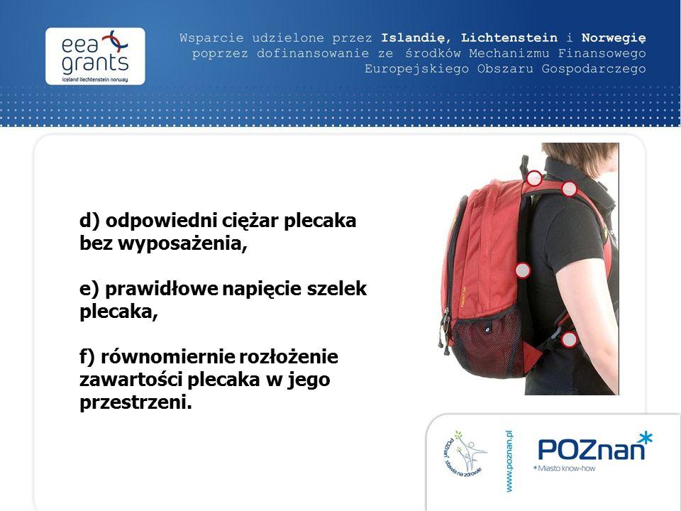 d) odpowiedni ciężar plecaka bez wyposażenia, e) prawidłowe napięcie szelek plecaka, f) równomiernie rozłożenie zawartości plecaka w jego przestrzeni.