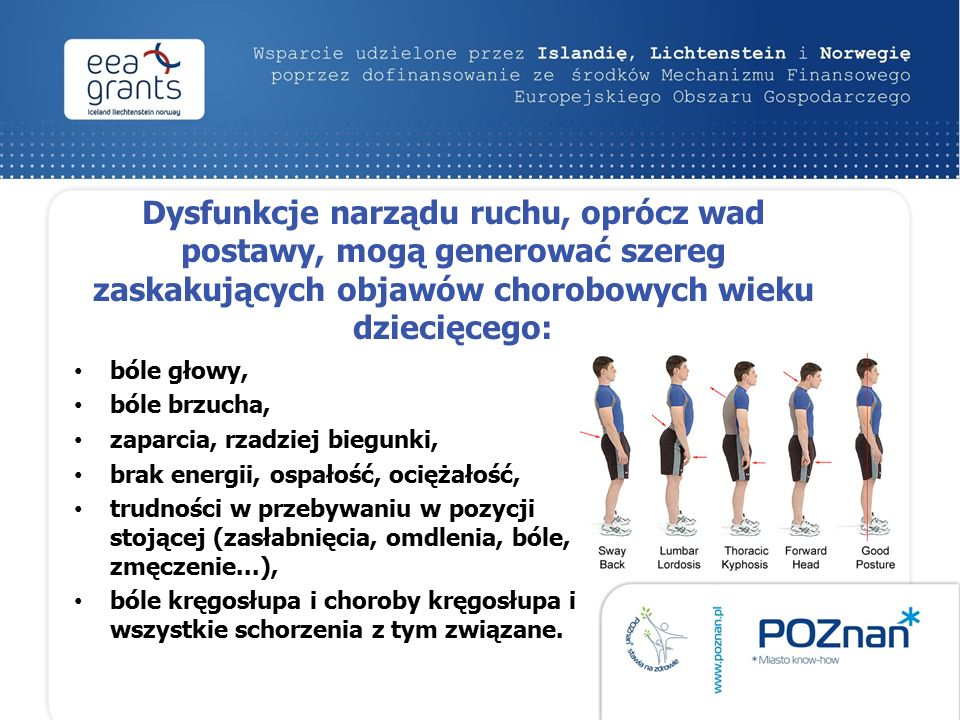 Dysfunkcje narządu ruchu, oprócz wad postawy, mogą generować szereg zaskakujących objawów chorobowych wieku dziecięcego: bóle głowy, bóle brzucha, zaparcia, rzadziej biegunki, brak energii, ospałość, ociężałość, trudności w przebywaniu w pozycji stojącej (zasłabnięcia, omdlenia, bóle, zmęczenie...), bóle kręgosłupa i choroby kręgosłupa i wszystkie schorzenia z tym związane.