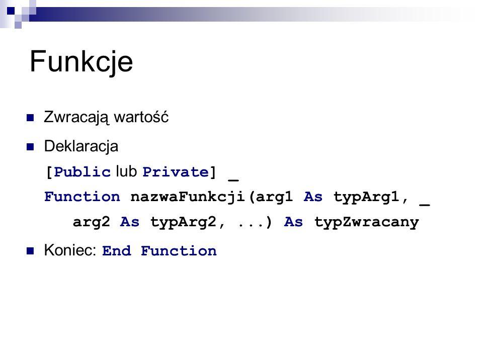 Funkcje Zwracają wartość Deklaracja [Public lub Private] _ Function nazwaFunkcji(arg1 As typArg1, _ arg2 As typArg2,...) As typZwracany Koniec: End Function