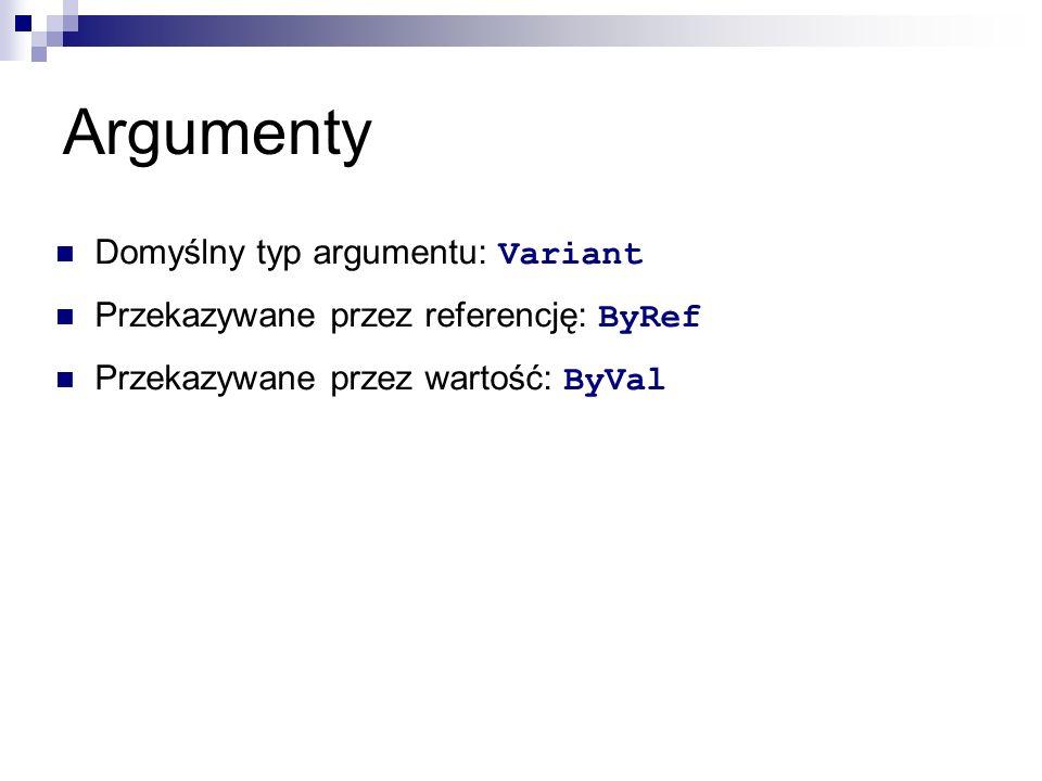Argumenty Domyślny typ argumentu: Variant Przekazywane przez referencję: ByRef Przekazywane przez wartość: ByVal