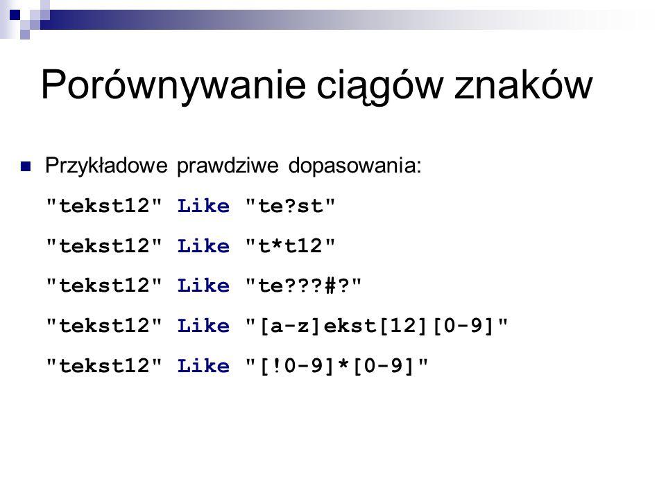 Porównywanie ciągów znaków Przykładowe prawdziwe dopasowania: tekst12 Like te?st tekst12 Like t*t12 tekst12 Like te???#? tekst12 Like [a-z]ekst[12][0-9] tekst12 Like [!0-9]*[0-9]