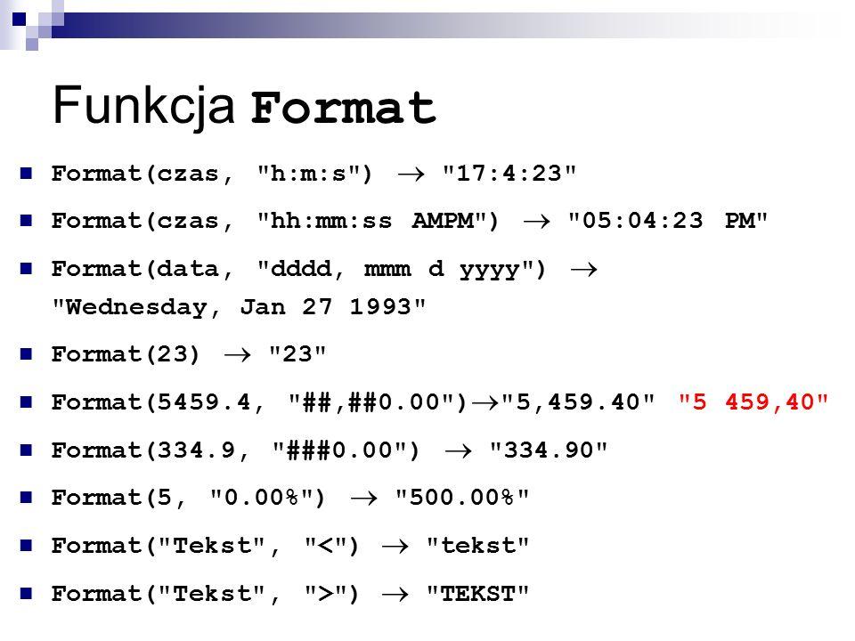 Funkcja Format Format(czas, h:m:s )  17:4:23 Format(czas, hh:mm:ss AMPM )  05:04:23 PM Format(data, dddd, mmm d yyyy )  Wednesday, Jan 27 1993 Format(23)  23 Format(5459.4, ##,##0.00 )  5,459.40 5 459,40 Format(334.9, ###0.00 )  334.90 Format(5, 0.00% )  500.00% Format( Tekst , < )  tekst Format( Tekst , > )  TEKST