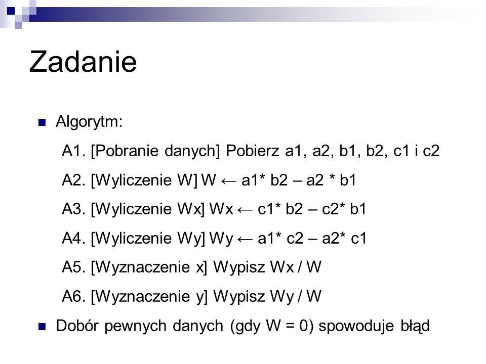 Zadanie Algorytm: A1. [Pobranie danych] Pobierz a1, a2, b1, b2, c1 i c2 A2.