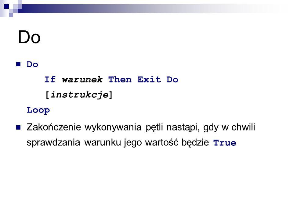 Do Do If warunek Then Exit Do [instrukcje] Loop Zakończenie wykonywania pętli nastąpi, gdy w chwili sprawdzania warunku jego wartość będzie True